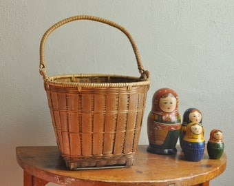 Vintage Woven Basket Pail Style with Handle