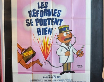 Vintage 1978 Large Rare Movie Poster French Moroccan Theater Advertising Poster for Comedy Les Reformes Se Portent Bien