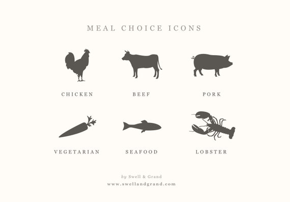 Digital Meal Choice Icons : for Word or Pages : Mac or PC : Chicken ...