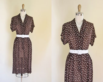 1940s Dress - Vintage 40s Dress - Chocolate Polka Dots Flirty Rayon Rhinestones Swing Dress S M - Popcorn Finale Dress