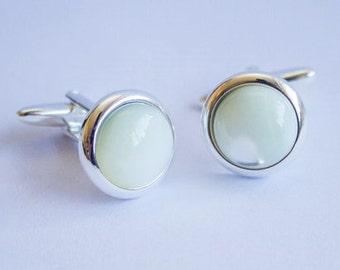 Cufflinks.  Cuff Links.  Mother Of Pearl.  12mm.  Gemstone.  Mother Of Pearl Cufflinks.  Hand Crafted.  Gifts For Men.  Groom Cufflinks.