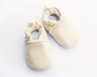 Warm Organic Cotton Fleece in Natural All Fabric Soft Sole Baby Shoes / Made to Order / Babies