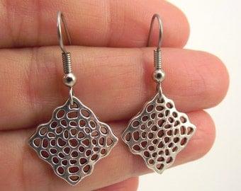Silver Diamond Web Earrings, Diamond Silver Earrings