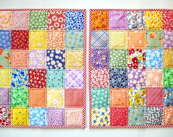 Quilted Patchwork Placemats Retro Prints in Cheery Bright Colors