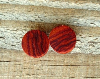 16mm Pink Tulip wood plugs, organic hand crafted 5/8ths inch size pair of gauges