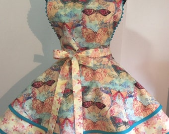 Gorgeous Pastel Butterfly Print with Co-Ordinating Fabric and Rick Rack Two Tiered Twirly Apron