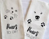 Dog and Cat Paws to Dry 100% Linen Tea Towels - 2 kitchen or bath towels in set