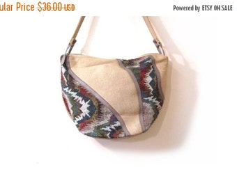 BTS SALE Vintage 80s Woven Southwestern Ethnic Print Shoulder Purse