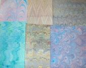 hand marbled  paper, card making,   Pack 6 scrapbook , papier marbrè , marmorpapier.  -  9,75