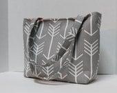 Grey Arrows  Tote Bag /  Diaper Tote / Toddler Bag - Small Diaper Bag
