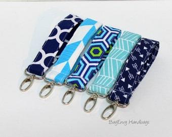 Key Chain / Key Fob - Swivel Clasp Key Wristlet - Choose Your Fabric  - Navy Aqua Collection - Arrows - Sale
