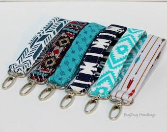 Key Chain / Key Fob - Swivel Clasp Key Wristlet - Choose Your Fabric - Aztec - Arrows - Sale