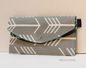 Arrows in Grey - with Teal Lining - Full Size Clutch