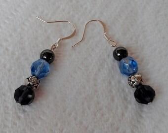 Blue, Black and Silver Dangle Earrings