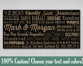 Custom - PERSONALIZED Typographic Wall Art Gallery Wrapped Canvas SIGNED