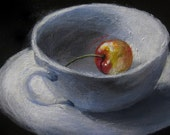 Cherry Tea I - original daily painting by Kellie Marian Hill