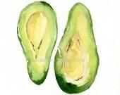 Avocado Art Print, kitchen art, Botanical watercolor print, Avocado green, second open edition print, Peridot green, kitchen decor