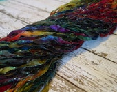 Hand Dyed ribbon WIZARD'S MAGIC, dark shimmer edge, 5 yards