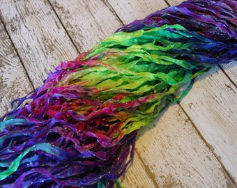 Hand Dyed ribbon TROPIC BLOOM glitters, 5 yards