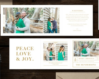 Holiday Card Templates for Photographers - 5x5 Trifold Flyer - Christmas Card Designs for Professional Photographers - h0052