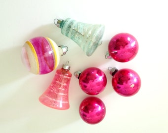 Vintage Glass Christmas Tree Ornaments - Collection of 7 - Made in USA