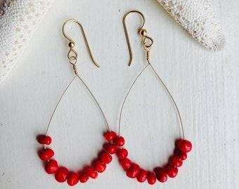 Red Bamboo Coral Teardrop Hoop 14K Gold Filled Earrings. Made in Hawaii. Perfect Birthday BFF Gift Beach Ocean Souvenir Memorabilia