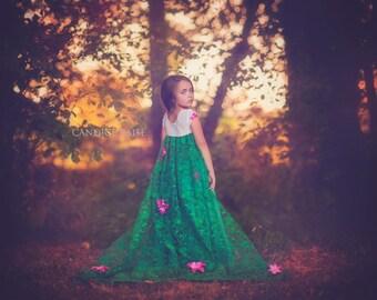 Frozen Fever dress Elsa inspired green  dress 3/4 satin style skirt