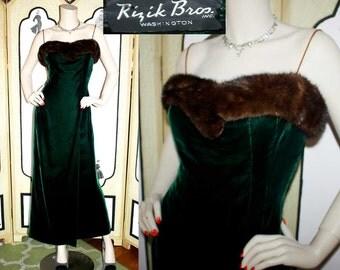 50's Green Velvet and Mink Evening Gown Dress by Rizik Bros. Washington.