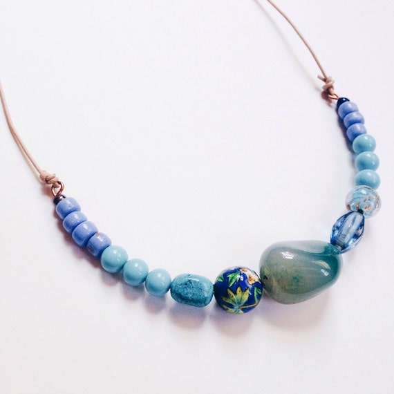 70% OFF Palmdale Necklace /// Aqua, Periwinkle, and Powder Blue Bead Necklace on Copper Wire and Leather Cord