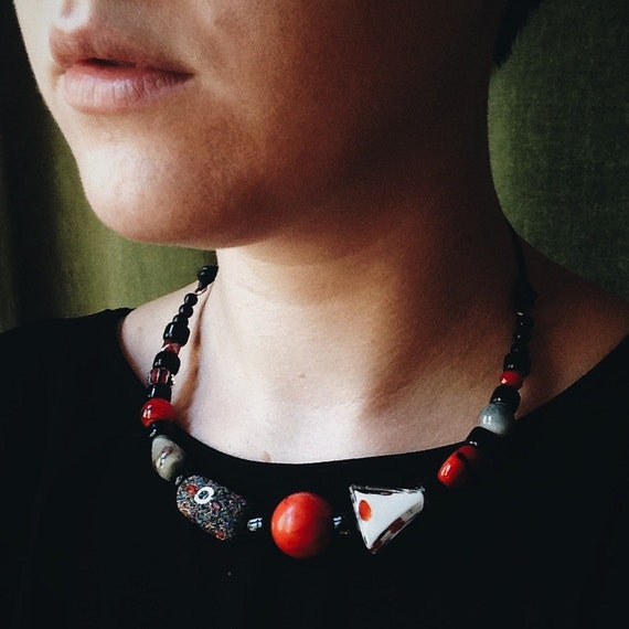 RESERVED FOR JESS: Coeur D'Alene Necklace /// Cardinal Red & Black Bead Necklace on Copper Wire and Leather Cord