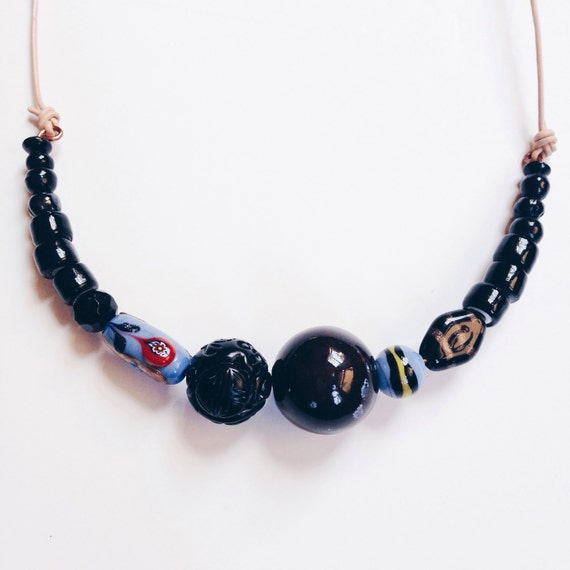 RESERVED FOR SARAH: Petaluma Necklace /// Blue & Black Bead Necklace on Copper Wire and Leather Cord