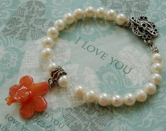 REAL Orchid Flower - Orange Orchid Bracelet - Ivory Freshwater Pearl - Silver Filigree Heart Toggle Clasp