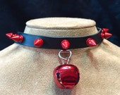 Red Jingle Bell on Red Spiked Leather Choker