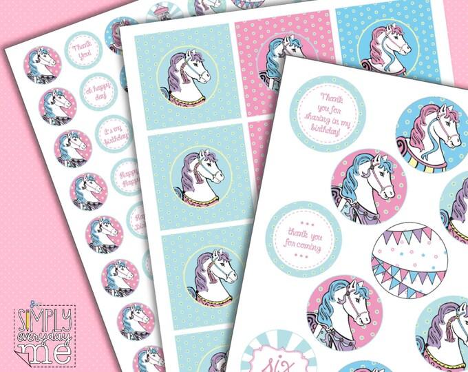 Pink Carousel Circle Tags - Personalize for cupcake picks, gift tag, kisses or mason jar labels - INSTANT download DIY Printable PDF Kit
