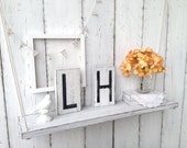 TWO letter tiles - cottage style - painted white with black letters - distressed