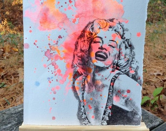 Portrait Painting of Marilyn Monroe Pop Art Watercolor Painting - Original Watercolor Painting Mpvie Poster Wall Decor Pop Art