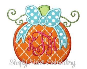 Pumpkin Bow Machine Embroidery Applique Design