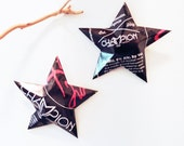 Black Me Champion Brewery, Charlotte NC, Black Beer Stars Christmas Ornaments Aluminum Can Upcycled