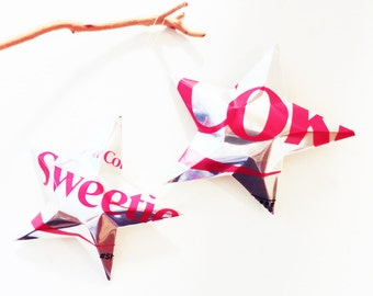 Sweetie Diet Coke Stars Christmas Ornaments Soda Can Upcycled Coca Cola