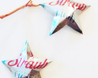 Straub Light Stars, Ornaments, Aluminum Can, Upcycled Beer Can, Recycled Christmas