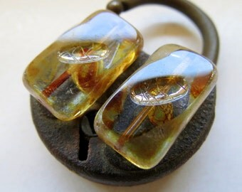 NEW Rustic RECTANGLES . Czech Picasso Glass Beads (5 beads) 20 mm by 12 mm