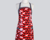Laminated Chef Apron . Scotty Dogs on Red and Black White Polka Dot Trim Adjustable Ties Apron Cotton Laminated Apron is Perfect for the Hai