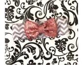 SALE-Baby Girl Headbands, white and Grey Chevron Headband, Vintage Pink Bow, Fabric Headband, sparkling bow ,newborn headband, head wrap