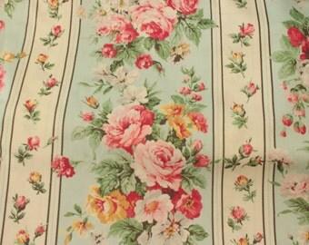 Yuwa Floral Stripe on Aqua RQ256104F Cotton Fabric