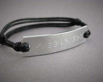 Braille 'I Love You' stamped Mens Bracelet, Anniversary Gift, Wedding Day, Boyfriend, Husband, Gift, Anniversary, Secret Message, Man Gift