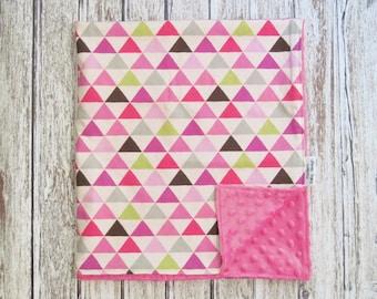 Pink Triangle Baby Blanket, Minky Baby Blanket, Baby Girl Blanket, Geometric Blanket