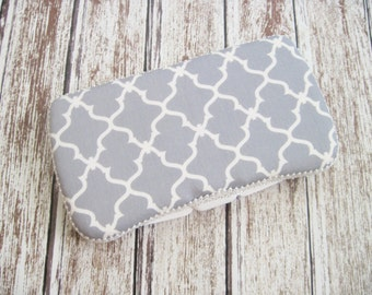 Gray Baby Wipes Case, Trellis Wipe Case, Gray and White Travel Wipes Case