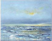 Peaceful beach painting, large ocean storm painting with grey and blue tones 16x20