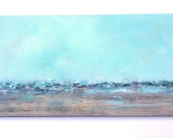 Abstract beach painting with texture, 12x24 long turquoise, sand with texture ocean painting