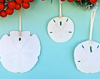 "Beach Ornaments - 3 Sand Dollars 2.5"" - 3.5"" - Choose from 5 Ribbons or Jute and Natural or Glittered Sand Dollars"